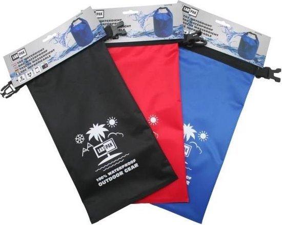Lastpak waterproof bag rood zwart en blauw. Drybag 2 liter