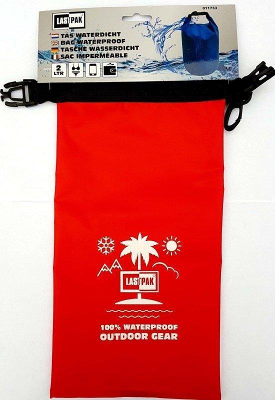 Lastpak waterproof bag rood. 2 liter