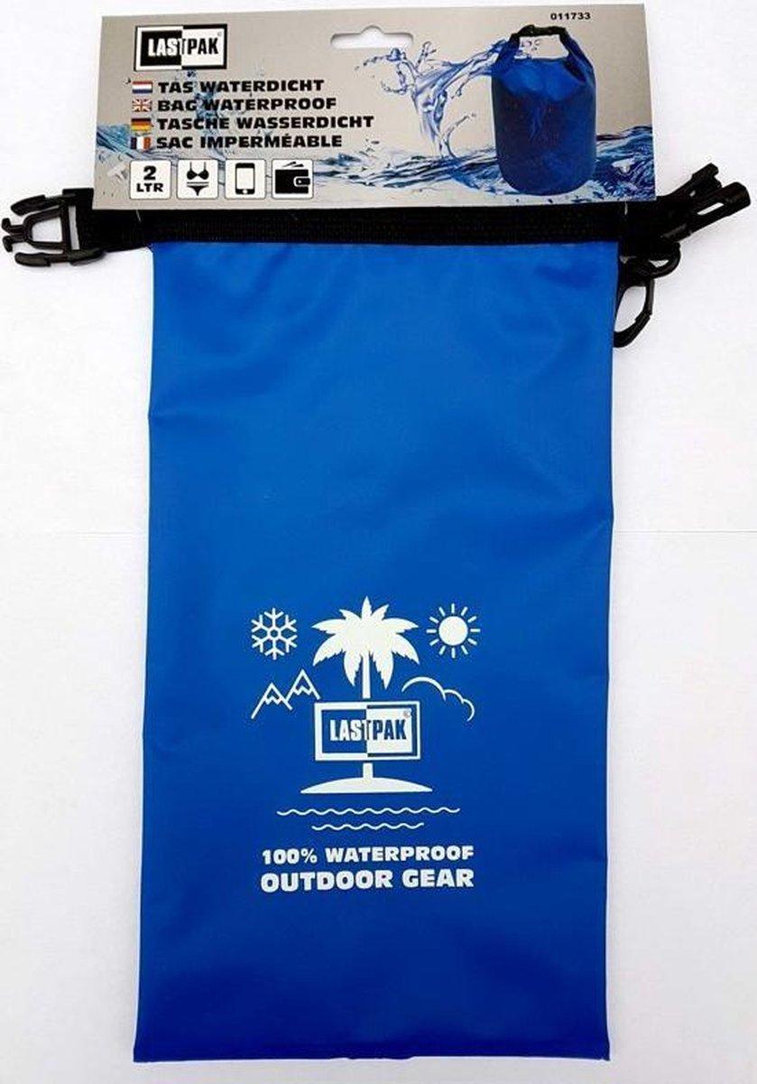 Lastpak 2 liter waterproof tas blauw